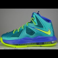36199d26e06e Youth Nike Lebron X Elite Turquoise Volt GS Worn once. New condition. With  shoe