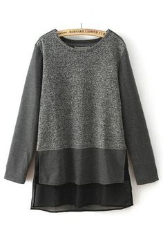 Love Love LOVE the Layered Fabrics! Grey Patchwork Zipper Long Sleeve T-Shirt #Comfy #Grey #Black #Layered #Fabric #Tops #Fashion