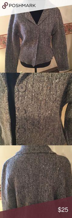 Denbigh Knitwear Sweater Denbigh Knitwear sweater made by Barbara Fielding in England. Made of washable wool in a rich charcoal tweed fabric. Denbigh Knitwear Sweaters Cardigans