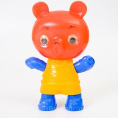 Vintage original soviet plastic toy - funny colorful bear by isantiik