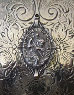 Art Deco Patron Saint Christopher Religious Medal, Protector Of Travelers Vintage Jewelry Pendant Charm Catholic Holy Medallion, Be My Guide