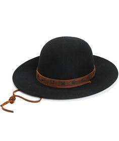 A solid black wool construction featuring a wide and soft brim is finished with genuine leather banded detailing along the crown and an adjustable strap.
