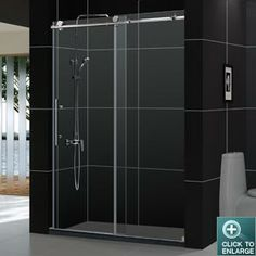"ENIGMA-XThe DreamLine™ ENIGMA X Collections of shower doors and shower enclosure offers unique design, flawless function and exceptional value. The 3/8"" (10mm) thick glass with the exclusive ClearGlass; protective coating slides effortlessly on stainless steel wheels over a stainless steel track bar. Features like the anti-splash threshold and convenient handle provide additional elements of advanced design for this world-class shower door."