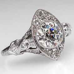 Stunning Art Deco Engagement Ring w/ Old Euro Diamond Platinum 1930's - EraGem