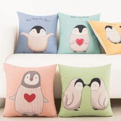 Penguin Throw Pillow Cushion Cover (45cm x 45cm)