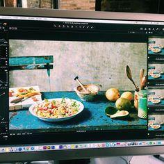 #behindthescenes #cookbook - Papaya and Mango salad on the big screen