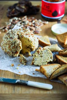 Smoked paprika and a cheesy cashew blend create a perfect vegan cheddar cheeseball!