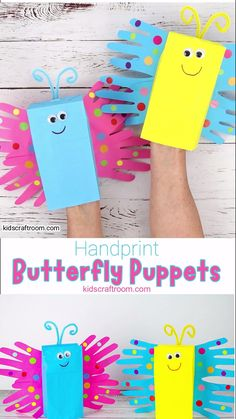 Make a pretty Paper Bag Butterfly Puppet Craft. This handprint butterfly craft is so easy and cute! Paper bag puppets are so fun for kids big and small and a great way to encourage imaginative play. Paper Bag Crafts, Paper Crafts For Kids, Easy Crafts For Kids, Craft Activities For Kids, Contact Paper For Crafts, Preschool Arts And Crafts, Kid Crafts, Summer Crafts For Toddlers, Toddler Arts And Crafts