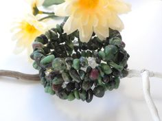 Ruby Zoisite Gemstone Chip Bracelet Green Crystal by APerfectGem $15.00 #rubyzoisite, #memorywire #memorybracelet #chakrastones #chakrabracelet #greenstones #greenbracelet