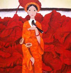 Lady & Bird by Phan Linh Bao Hanh artist Size : 100cm x 100cm  www.eyegalleryvn.com