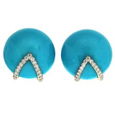 Turquoise Diamond Gold Button Earrings | From a unique collection of vintage clip-on earrings at https://www.1stdibs.com/jewelry/earrings/clip-on-earrings/