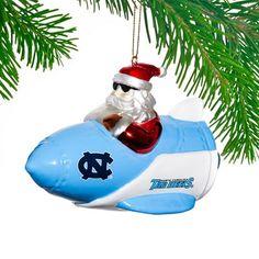North Carolina Tar Heels Santa Gets There Rocket Ornament