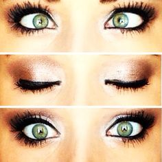 Green eye makeup! Rosy toned neutrals look great for green eyes! Not sure why her eyes are crossed at the top haha.