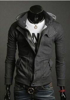 men's slim fit hoodie sweater jacket