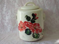 McCoy Cookie Jar - Tall Lidded Cannister - Hand Painted Ceramic - Clean Condition - Shows Age and Use - Collectible Ceramics - Practical Use by ChicAvantGarde on Etsy