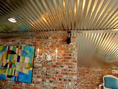 if we can't salvage the ceilings from the adjoining buildings for the restrooms we will put galvanized metal on them for a unique look