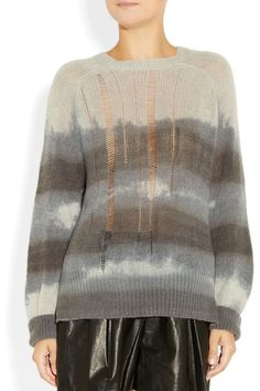 RAQUEL ALLEGRA  Tie-dye open-knit cashmere sweater, I love drop stitches!