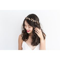 Berry and Leaf Hair Wreath Peach Pink and Gold Delicate Flower Crown... (175 NOK) ❤ liked on Polyvore featuring accessories, hair accessories, grey, gold leaf hair accessories, pink hair accessories, gold garland, flower crown and leaf garland