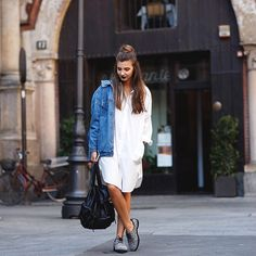 """Throwing a long denim jacket over an oversized white shirtdress and wool brogues from Miista's AW15 collection, @larisacostea sports a tomboyish look for…"""