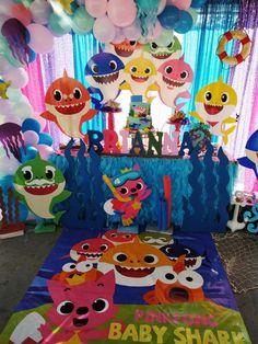 Decoracion Baby Shark - decoracion para fiestas Baby Boy 1st Birthday Party, 2nd Birthday Party Themes, Baby Party, Birthday Ideas, Fete Vincent, Shark Party Decorations, Baby Shark, Shark Hat, Sharks