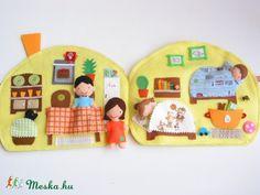Családi házikó játszókönyvecske- hasonló rendelhető, Baba-mama-gyerek, Játék, Baba, babaház, Készségfejlesztő játék, Meska