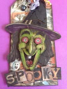*I love the Zombie die (and the others) that Tim used to make this months tag, but this being the UK, and therefore a month or two away from. Halloween Shadow Box, Halloween Tags, Holidays Halloween, Halloween Paper Crafts, Halloween Decorations, Tim Holtz Dies, Halloween Scrapbook, Paper Tags, Fall Cards