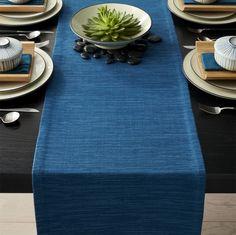 "Grasscloth 90"" Corsair Blue Table Runner | Crate and Barrel"