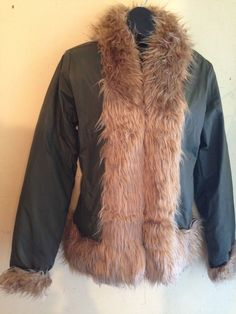 New khaki army green Fur Puffer Coat Sz S Hip hop raincoat jacket top #SELENE #Puffer