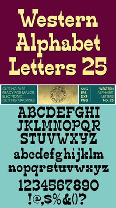 Western Alphabet Letters 25 - Vector Clipart - SVG, eps, dxf, png Cut Files for Silhouette Studio, Cricuit, cutting machine crafts - CV-197