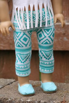 Aztec print mint and white leggings by closet4chloe on Etsy. Made with the LJC Leggings pattern, found at http://www.pixiefaire.com/products/leggings-18-doll-clothes. #pixiefaire #libertyjane #leggings