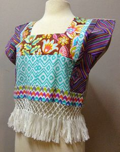 Pieced, fringed top made from the Michael Miller's Fiesta collection. Made for Trenna Travis Design Studio by Emerald Greene, sister of Virginia Smith with Show Me Sewing