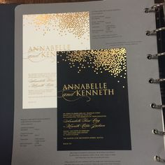 Love the black and gold - maybe for an envelope liner on the invite