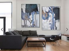 Set Of 2 Large Abstract Painting Canvas Art, Contemporary Art Wall Decor, Original Art by Leo, Hand paint. Blue, brown, grey, white, black.