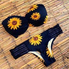 Buy Womens Swimming Set New Fashion Sunflower Pattern Latest Design Sexy Black Bikini Hot Beach Bathing Suit at Wish - Shopping Made Fun Sexy Bikini, Bikini Sets, Bandeau Bikini Set, Vs Bikini, Bikini Swimwear, Women Bikini, Bikini Beach, Sporty Swimwear, Bikini Set