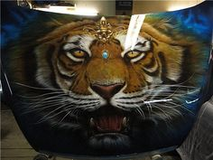 Airbrush-Tiger-Car-Hood  - Best Airbrush Image Galleries and Videos: share, promote and rate your Artworks, or discover the lates uploads!  - http://www.JustAirbrush.com