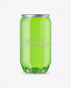 PET Can with Green Drink Mockup