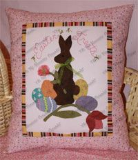 Easter Treats Pillow Pattern by Oh My Bloomin' Threads at KayeWood.com. This bunny sits among his Easter eggs and flowers, perfect seasonal pillow pattern. http://www.kayewood.com/item/Easter_Treats_Pillow_Pattern/3093 $8.00