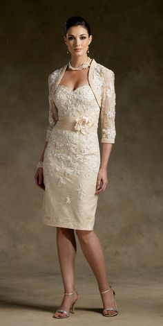 Mother-of-the-Bride dress. Beautiful, but would prefer a little cap sleeve and ditch the short jacket.