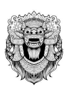 Barong and Rangda on Behance Doodles Zentangles, Barong Bali, Graphic Design Illustration, Illustration Art, Logo Superman, Dragon Oriental, Dragons, Mask Drawing, Indonesian Art