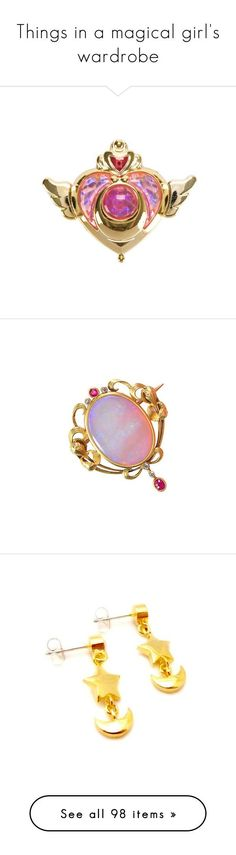 """Things in a magical girl's wardrobe"" by kitty-cafe ❤ liked on Polyvore featuring accessories, fillers, extra, sailor moon, jewelry, necklaces, brooches, pins, amethyst pendant and pendant necklace"