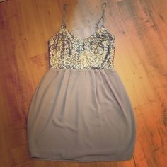Gianni Bini sequin mini Mini dress with silver sequins at the bust. Never worn. Gianni Bini Dresses Mini