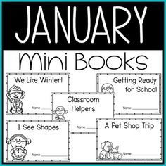 This January Mini Book resource is perfect for kindergarten students learning to read. This #January themed pack includes five mini-books that are simple to read with predictable text & high picture support. This group includes We Like Winter!, Classroom Helpers, Getting Ready for School, I See Shapes, & A Pet Shop Trip. Kinder students love these mini books. Great for kinder reading centers & literacy or language arts practice. #winter #KindergartenReading