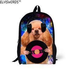 4b4fa135705e ELVISWORDS Funny 3D Dog School Bag For Teenagers Boys Girls Children Kid  Shoulder Bagpack Student School
