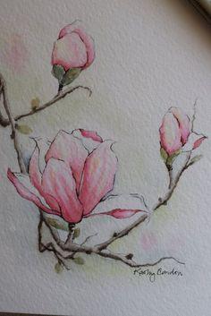 Día de la madre tarjeta Magnolia 3 flores acuarela tarjeta de