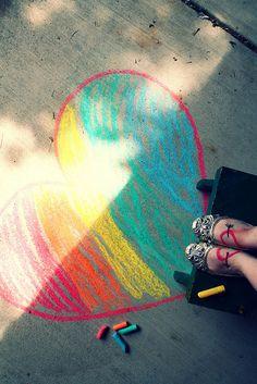 sidewalk chalk + rainbow hearts