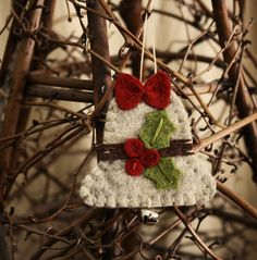 holly bell felt ornament wool felt holiday decoration
