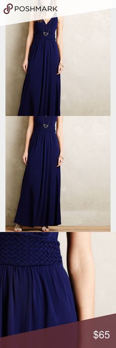 Maeve Yuma maxi dress NWOT.  Gorgeous dark cobalt color.  Empire waist with side zipper.  This dress has a great flattering drape to it!  I love it, but I've never worn it. Anthropologie Dresses Maxi