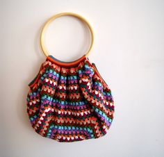 Crocheted bag multicolors granny square style by knittingcate, $90.00