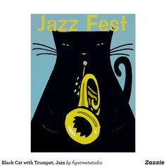 Black Cat with Trumpet, Jazz Poster