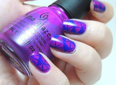 Geometric stamping with Bundle Monster BM-414 on Flying Dragon by China Glaze - geometric nails - neon nails